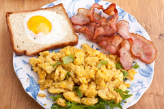 Eggy bread, eggs and bacon Stock Image