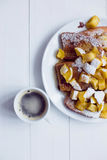 Eggy bread with stewed apples and coffee Stock Photo
