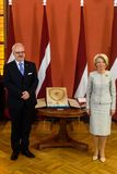 Egils Levits, Newly elected President of Latvia and Inara Murniece, Speaker of Parliament of Latvia. RIGA, LATVIA. 8th of July 2019. Egils Levits, Newly elected stock photos