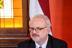 Egils Levits, newly elected President of Latvia , during press conference. 29.05.2019. RIGA, LATVIA. Egils Levits, newly elected President of Latvia , during stock image