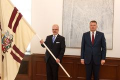 Egils Levits, Newly Elected President of Latvia and Raimonds Vejonis, Former President of Latvia, during Introduction ceremony in. RIGA, LATVIA. 8th of July 2019 royalty free stock images