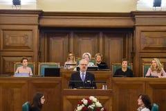 Egils Levits, Newly elected President of Latvia. RIGA, LATVIA. 8th of July 2019. Egils Levits, Newly elected President of Latvia, Solemn oath and address at the stock image