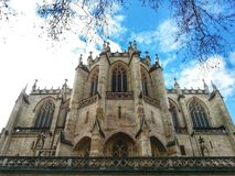 Egils Paroisse Catholic Saint Nizier, Lyon old town, France. View of the Catholic cathedral in the vieux lyon district in the day of sunny Royalty Free Stock Photos