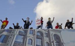 Egipcios que demuestran contra presidente Morsi Foto de archivo libre de regalías