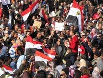 Egipcios que piden la dimisión de Mubarak Foto de archivo libre de regalías