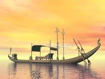 Egipcjanin święta barka z tronem - 3D odpłacają się ilustracji