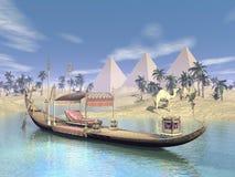 Egipcjanin święta barka z tronem - 3D odpłacają się ilustracja wektor