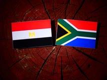 Egipcjanin flaga z południe - afrykanin flaga na drzewnym fiszorku odizolowywającym Fotografia Stock