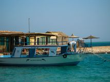 Egipet.Hurghada.July 2009.Yacht on turquoise water, ready to sail stock photos