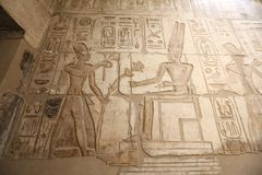Egipscy hieroglify w Przedpogrzebowej świątyni Seti I, Luxor, Egipt obrazy royalty free