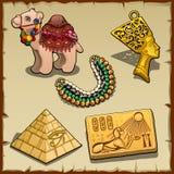 Egipscy symbole i zabawkarski wielbłąd, pięć rzeczy royalty ilustracja