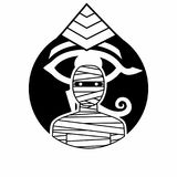 Egipska mamusi odznaka, emblemata monochrom/ ilustracja wektor