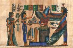 Egipski papirus z postaciami i znakami Obrazy Royalty Free