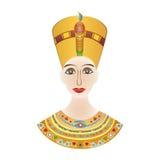 Egipski pharaoh Cleopatra lub Nefertiti w barwionych wzorach Zdjęcia Royalty Free