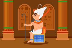 Egipski Pharaoh obsiadanie w tronowym pokoju z hieroglifami na ścianach i dużych kolumnach Kreskówka mężczyzna z berłem i ankh royalty ilustracja