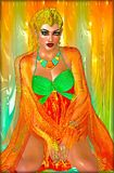 Egipski princess w pomarańczowych jedwabiach i szmaragdowa zieleń z pięknymi moda kosmetykami, uzupełnialiśmy i złocista korona Zdjęcia Stock