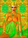 Egipski princess w złocistej i szmaragdowej zieleni z pięknymi moda kosmetykami, uzupełniał i złocista korona Zdjęcia Royalty Free
