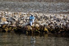 Egipski rybak z prącie połowem od riverbank Fotografia Royalty Free