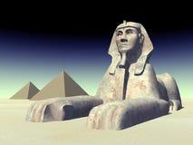 Egipski sfinks i ostrosłupy Zdjęcia Stock