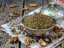 Egipskie pikantności mieszanki Dukkah dokrętki, czarny pieprz, kolendery, koper, kmin i inne pikantność, Zdjęcie Royalty Free