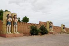Egipskie statuy w atlanta Kinowym studiu w Maroko Zdjęcia Royalty Free