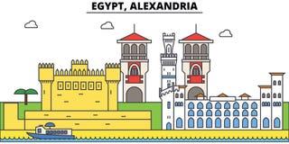 Egipt, Aleksandria konturu miasto linia horyzontu, liniowa ilustracja, sztandar, podróż punkt zwrotny, budynek sylwetka, wektor Fotografia Stock