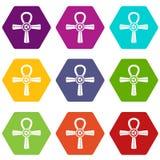 Egipt Ankh symbolu ikony koloru ustalony sześciobok Obrazy Royalty Free
