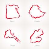 Egipt, Etiopia, Erytrea i Djibouti, - kontur mapa ilustracji