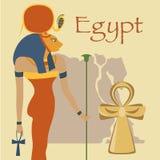 Egipt, Hathor bogini i Ankh, krzyżujemy, symbole tradycyjnej Egipskiej kultury wektorowa ilustracja, projekta element dla Zdjęcie Stock
