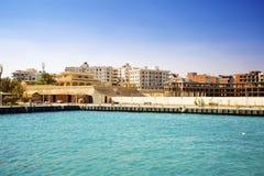 Egipt Hurgada Mening van het overzees Nieuwe complexen in aanbouw stock foto