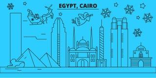 Egipt, Kair zima wakacji linia horyzontu Wesoło boże narodzenia, Szczęśliwy nowy rok dekorowali sztandar z Święty Mikołaj cairo E royalty ilustracja