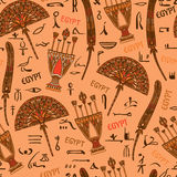 Egipt kolorowy ornament z elementami i sylwetka hieroglifami antyczna Egipska kultura Obraz Royalty Free