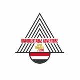 Egipt koszulki projekt z pisać list niezapomnianą przygodę Flaga i ostrosłupa silhouete dla odzieży ilustracji