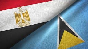 Egipt Lucia i święty dwa flagi tekstylny płótno, tkaniny tekstura royalty ilustracja