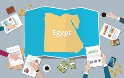 Egipt mesir kraju narodu wzrostowa drużyna dyskutuje z fałd map widokiem od wierzchołka ilustracja wektor