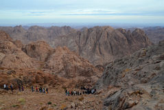 Egipt, Mojżesz góra. Spadek od wierzchołka Obraz Stock