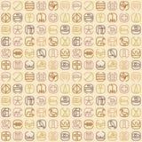 Egipt symbolu ikony bezszwowy wzór z mnóstwo symbolami tak jak royalty ilustracja