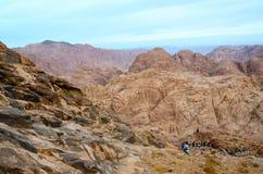 Egipt, Synaj góry Ludzie iść puszek z wierzchu góry Mos Zdjęcia Stock