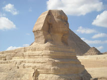 Egiptian sphing. The Egyptian Sphinx guarding the pyramids Stock Photography