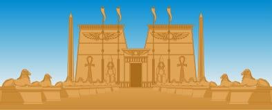 Egiptian tempel stock illustrationer