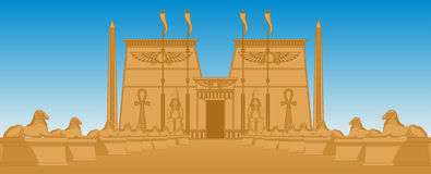 Egiptian Temple. Illustration of the Egyptian Temple and the avenue of sphinxes Royalty Free Stock Image