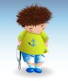 Żeglarz chłopiec w białym morskim kapeluszu, zielona koszulka z malującą kotwicą, błękit zwiera Odtwarzanie, morski temat Fotografia Stock