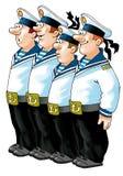Żeglarz kamizelki nakrętki systemu denny humor royalty ilustracja