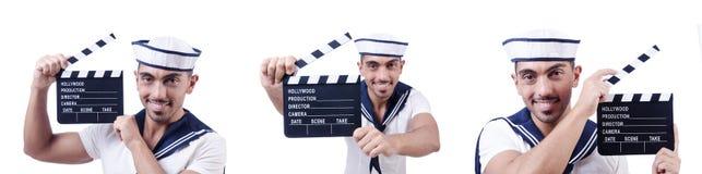 Żeglarz z filmu clapper na bielu Obrazy Stock