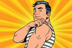 Żeglarz z tatuażem na ręce royalty ilustracja