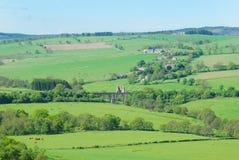 Eglingham village, castle ruins and bridge. Landscape of Eglingham village, castle ruins and bridge near Alnwick, Northumberland Stock Image