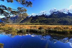 Eglinton Valley Lake Mirror and Mountains royalty free stock photo