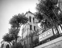 Eglise Abbatiale et paroissiale, Montmartre, noir et blanc Photos stock