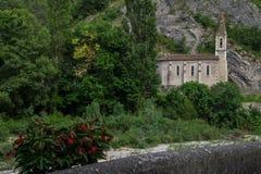 Pontaix,drome,france. Eglise et riviere dans la drome stock photos