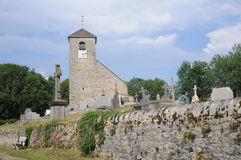 Eglise Saint-Andre De Mirebel. This is the beautiful old church of Saint-Andre in the little village of Mirebel in the Jura region of France. In 1939 it was Royalty Free Stock Photos